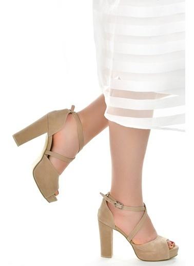 Ayakland Ayakland 3210-2058 Süet Abiye 11 Cm Platform Topuk Bayan Sandalet Ayakkabı Ten